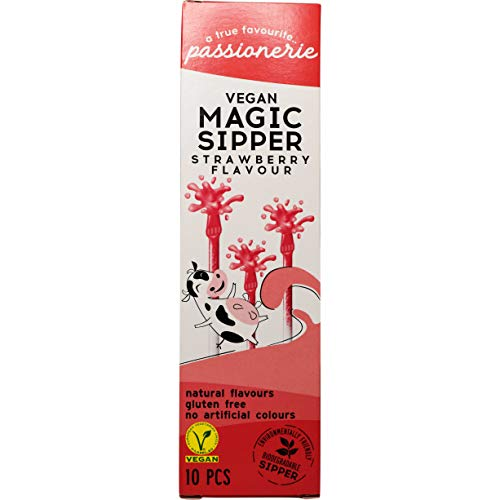 Passionerie - Vegan Magic Sipper, cannucce biodegradabili vegan, gusto fragola, 12 confezioni da 10 x 6 g