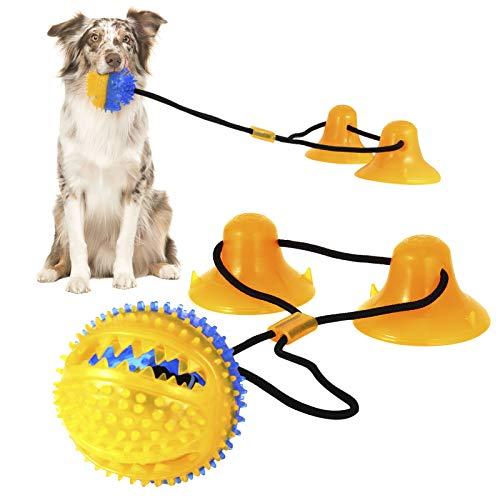umorismo Hundespielzeug mit 2 Saugnäpfen, Interaktiver Kauspielzeug Ball für Hunde Selbstspielende Gummiball Spielzeug für alle Hundegrößen