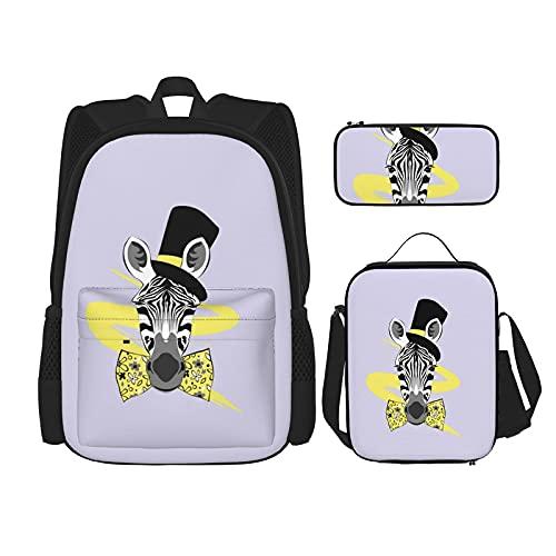 Zebra con lazo amarillo y sombrero impresión mochila para niños, adolescentes, bolsa de viaje, bolsa de almuerzo y estuche combinación