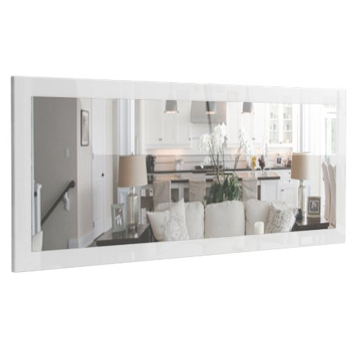 Vladon Spiegel Wandspiegel Lima 139cm in Weiß Hochglanz