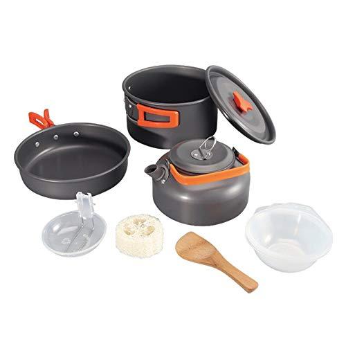 YUXIwang Cookware Camping Utensilios de Cocina al Aire Libre Utensilios de Cocina Camping Vajilla Juego de cocinas Viajes Vajilla Cubiertos Utensilios Senderismo Picnic Set (Color : 9pcs Orange)
