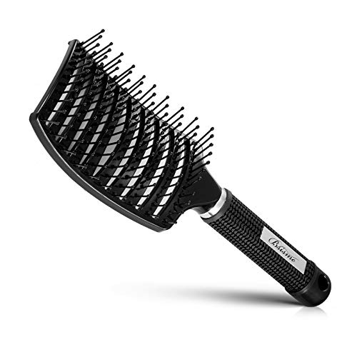 Hair Brush, Curved Vented Brush Faster Blow Drying, Professional Curved Vent Styling Hair Brushes for Women, Men, Paddle Detangling Brush for Wet Dry Curly Thick Straight Hair