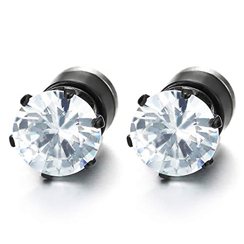 Mens Womens Magnetic Cubic Zirconia Black Stud Earrings, Steel, Non-Piercing Clip On Cheater Fake Ear