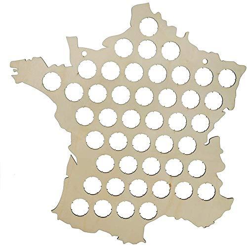 Mister Gadget MG3190 Carte de France Murale Personnalisable Collecteur de Capsules de Bière à Collectionner Bois Beige H40 x 38 x 0,4 cm