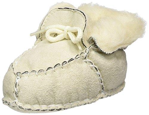 Playshoes Baby-Hausschuhe zum Binden, Krabbelschuhe in Lammfell-Optik