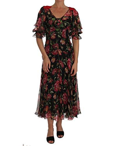 Dolce & Gabbana Abito da donna con rose nere e motivo floreale, taglia IT38 | XS (IT38 | XS)