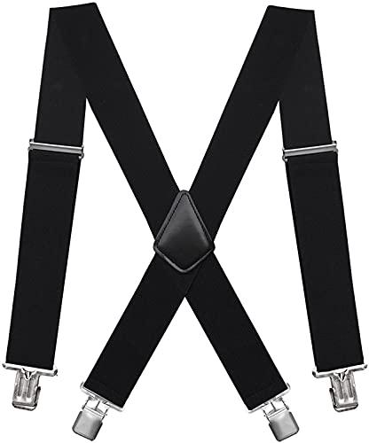 Hosenträger für Herren Breit 5cm mit sehr Starken 4 Metall Clip Lang Einheitsgröße Einstellbar und Elastisch X Style, Herren & Damen