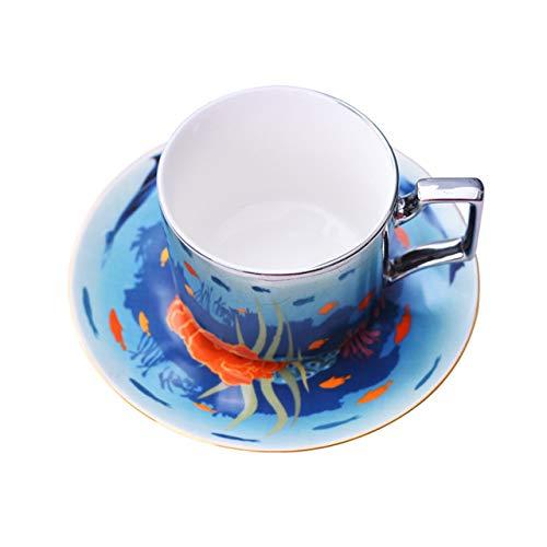 taza de porcelana Tazas De Café Con Espejo, Reflejo Especular, Tazas Y Platillos De Té De Cerámica Del Mundo Marino, Cuchara, Vajilla Creativa