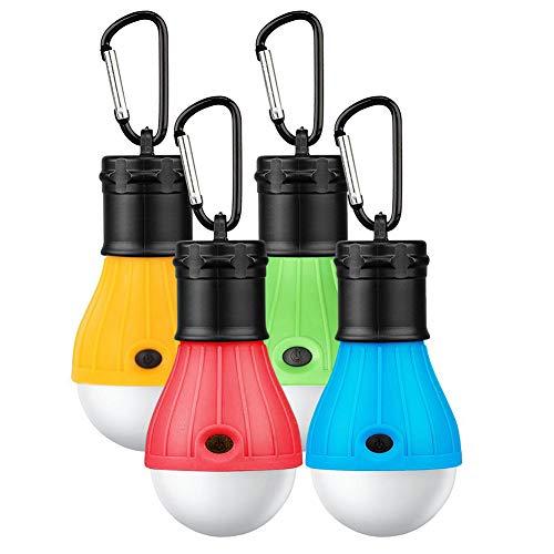 ASANMU LED Campinglampe, 4 Stücke Tragbare Camping Lampen LED Campingleuchte mit Karabiner Tragbare Laterne Zelt Leuchtmittel Zeltlampe Glühbirne Set für Camping, Abenteuer, Wandern, Angeln, Notlicht