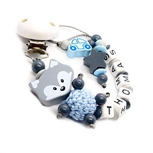 Fopspeen ketting met naam voor jongens en meisjes | VEEL individuele modellen | Gepersonaliseerde nuckelketting met naam naar keuze lichtblauw, vos-auto