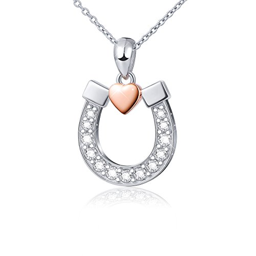 DAOCHONG S925 Sterling Silver Lucky Horseshoe with Rose Gold Love Heart Pendant Necklace,18 inches Chain