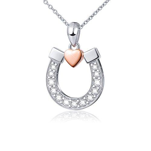 DAOCHONG S925 Sterling Silber Lucky Horseshoe mit Rose Gold Love Herz Anhänger Halskette, 18 Zoll Kette
