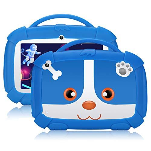 Tablet per bambini,7 pollici,Android 9.0 Qiamoo16 GB Kids Quad Core CPU 1,5 GHz Tablet per bambini con modalità di sicurezza per bambini supporto WiFi & Google Play Blu