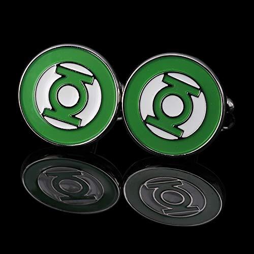 SSHDZS High-End Manschettenknöpfe Green Lantern Shirt Manschettenknopf für Herren Square Manschettenknöpfe Manschettenknöpfe Hochwertige Silber Mode Herren Accessoires