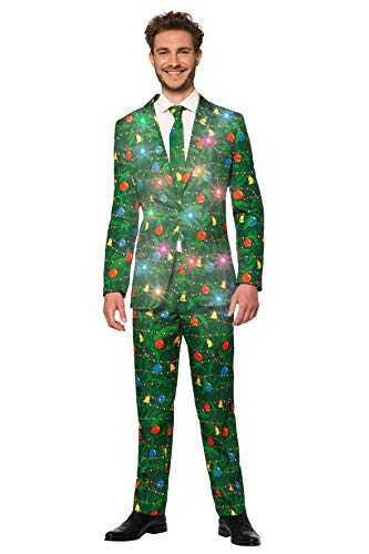 Suitmeister Light-Up Christmas Suits for Men - Chirstmas Green Tree - Ugly Xmas Sweater Costumes Include Jacket Pants & Tie - XL