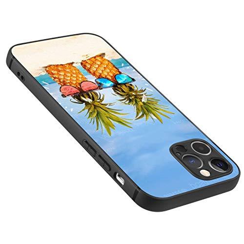 FAUNOW Diseñado para iPhone 12 Pro Max mate caso ultra delgado a prueba de golpes negro cubierta con piña