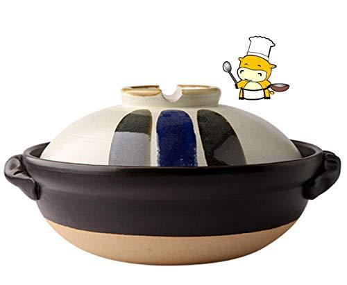 Ollas de cerámica para bistec, ollas de Fideos Ramen, Olla de arroz Donabe Japonesa, Olla con Tapa, Olla Negra para estofado Lento, Olla, Multicolor, 1 litro