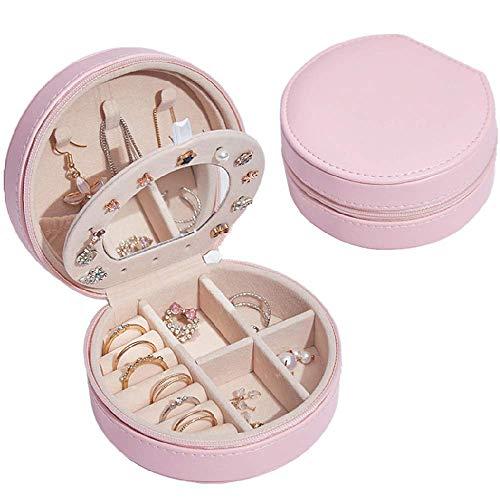 Muitar Estuche organizador de joyería de viaje, caja de joyería, regalo de San Valentín para mujeres, rosa claro