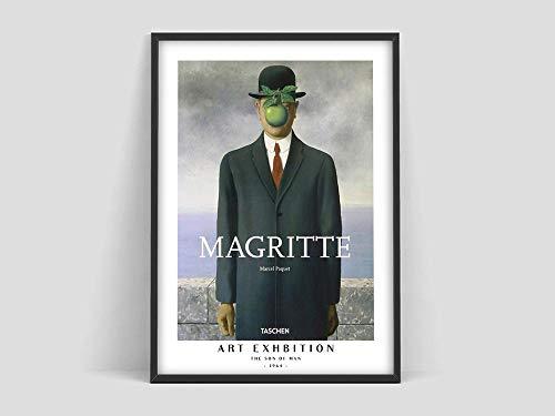 Póster de René Magritte El hijo del hombre, póster impreso de René Magritte, póster de exposición de arte, lienzo sin marco familiar Q-64 30x45cm