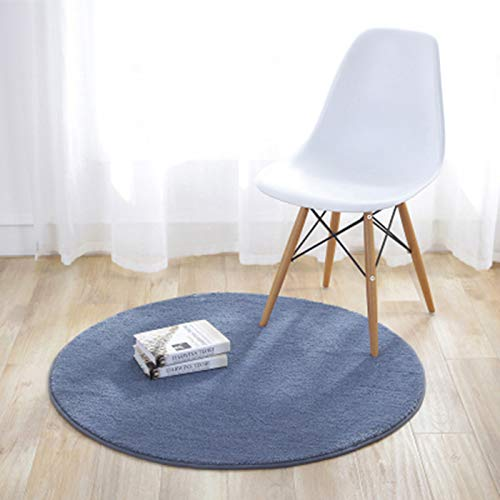 KiKom - Alfombra Redonda de Color Sólido para Sala de Estar Dormitorio Salón Estudio Canasta Colgante Silla para Computadora Alfombra para Niños - 60 cm, Gris Claro