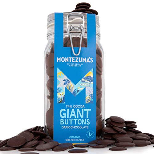 Montezuma's, 74% Cocoa Giant Dark Chocolate Buttons in Glass Kilner Jar, Gluten-free, Vegan and Organic, 900g