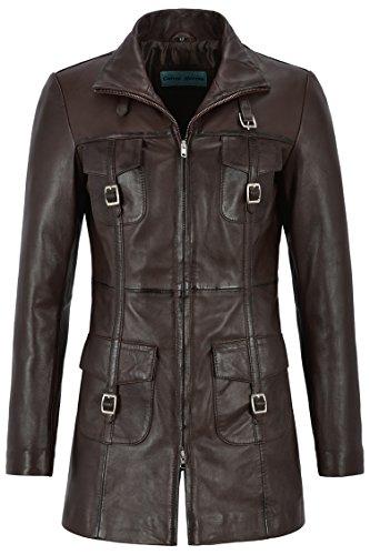 Smart Range Mistress 'Chaqueta de Cuero para Mujer Chaqueta de Cuero marrón Estilo gótico 1310