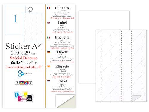 100 Papier adhésif blanc A4 autocollant SPECIAL DECOUPE feuille adhésive pour créer imprimer vos étiquettes sur imprimante 5 re-fentes au verso pour détacher découper facilement étiquettes Stickers