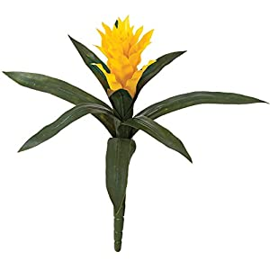 "Silk Flower Arrangements SilksAreForever 14"" UV-Proof Outdoor Artificial Bromeliad Plant Flower Bush -Yellow (Pack of 6)"