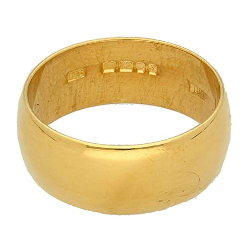Womens Ring | 22Carat Yellow Gold Plain D-Shape Wedding Band (Size L 1/2) 7mm Width | One of a Kind Jewellery