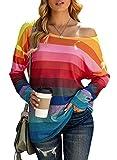 Sudaderas a rayas arco iris coloridas suéter casual manga larga camisa de manga corta tops túnica