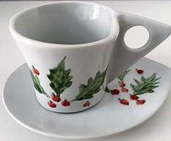 MaJe ceramista juego café esmaltado porcelana pintada a mano acebo navidad.