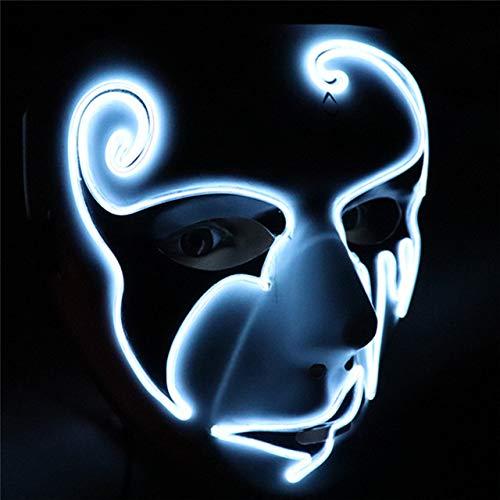 BFMBCHDJ Halloween Maske Maskerade Masken LED Neon Masque Party Cosplay Wimperntusche Scary Glowing Maski Licht Purge Carnaval Maske Weiß One Size