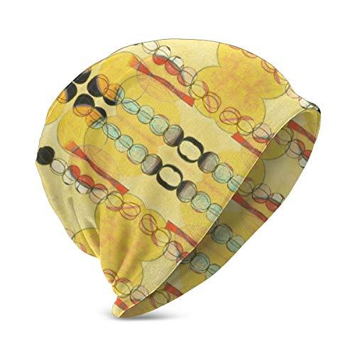 Liliylove Kleine gelbe Regenkette niedliche Strickmütze für Kinder, weich, warm, Stretch, Schlauch-Beanie mit Totenkopf-Mütze für Jungen und Mädchen