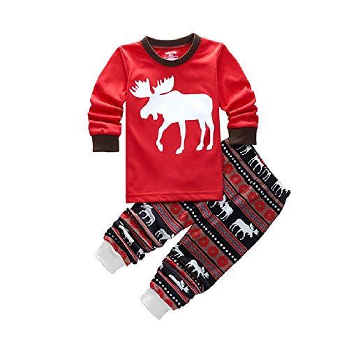 Traje de niños de Navidad Baby Girls Boys T-Shirt Stripe Pants 2pcs Conjunto de Pijamas para niños