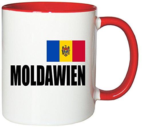 Mister Merchandise Kaffeetasse Moldawien Fahne Flag Teetasse Becher, Farbe: Weiß-Rot