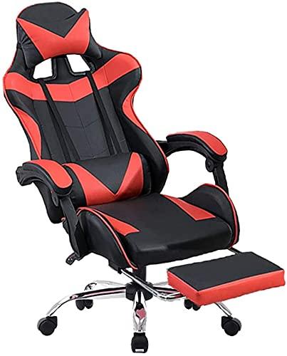 HDZW Sillón ergonómico del sillón de sillón Giratorio Carpeta Superior de Altura Acolchada Ajustable con PERSTED Cabeza Y Apoyo LUMBARÁ LUMER 155 ° Recline, Rojo Negro