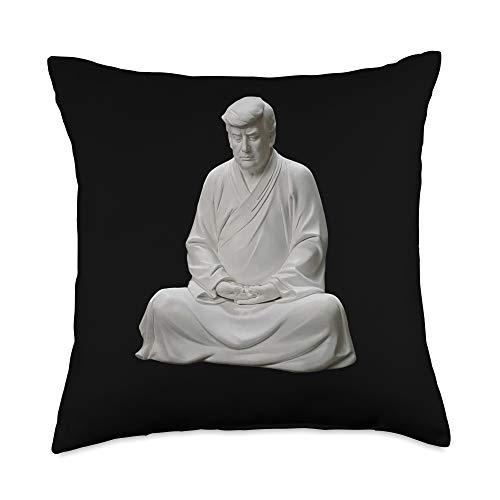 Trump Buddha yoga mindfulness peace Chinese Trump Buddha statue Zen Throw Pillow, 18x18, Multicolor