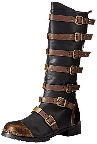 Ellie Shoes Men's Punk Steampunk Boots- Combat Costume Shoes, Brown, Large