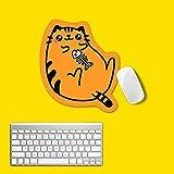 Bear Cat Gaming Mouse Pad Gamer Computer Mousematpink Yellow Padmouse Large para Teclado de Escritorio Alfombrilla de ratón LED para Juegos de niñas - Small Oranage Cat