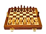 Palm Royal Handicrafts 10 inches Best Folding Wooden Handmade Chess Set Board with Magnetic Pieces with Extra Queen with Premium Quality 10x10 inch .