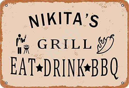 Keely Nikita'S Grill Eat Drink BBQ Metall Vintage Blechschild Wanddekoration 12x8 Zoll für Café, Bar, Restaurant, Pubs, Männerhöhle, Dekorativ