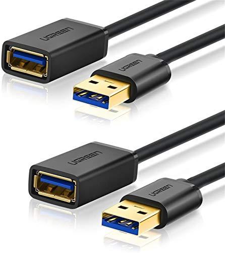 UGREEN Cable Alargador USB 3.0 Cable Extensor 2 Pack USB 3.0 Tipo A Macho a Hembra para Conexión Entre PC, TV y Periféricos como Impresora, Ratón, Teclado, Hub, Pendrive, Xbox, VR Gafas (3 Metros)