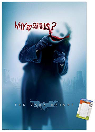 """Trends International DC Comics - The Dark Knight - The Joker - Why So Serious Wall Poster, 22.375"""" x 34"""", Premium Poster & Mount Bundle"""
