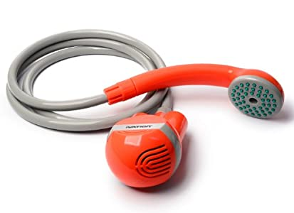 Ivation Portable Outdoor Shower, Battery Powered - Compact Handheld Rechargeable Camping Showerhead - Pumps Water from Bucket Into Steady, Gentle Shower Stream