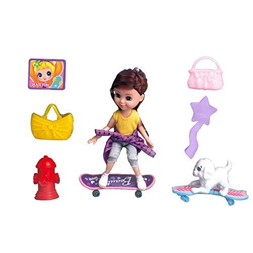 Watenkliy Skateboard für Barbie, Puppe Flexible Gelenke Spielzeugset mit Skateboard und Puppenzubehör, ab 3 Jahre