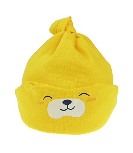 Bonnet de sommeil pour bébé fille garçon Ours en peluche Pliable de la naissance à 18 mois - Jaune - taille unique