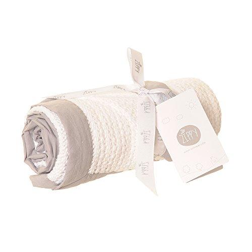 Zippy Baby Cellular Decke in Weiß mit grauem Rand für Babykörbchen, Wiegen und Kinderwagen 90cm x 70cm–Perfekte Geschenk