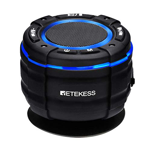 Retekess TR622 FM Shower Radio Waterproof, Music Shower Speaker, Support 5W Speaker and IP67 Waterproof for Pool, Shower, Beach, Boat (Black)