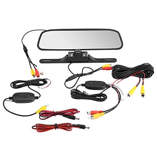 Hlyjoon Rückfahrkamera Spiegel 4.3 Zoll TFT LCD Auto Rückspiegel Monitor mit IP68 Waterproof Hochauflösend Nachtsicht Kamera Eingebauter Drahtloser Empfänger für Auto Mini-Truck Mini-Van Fahrzeug