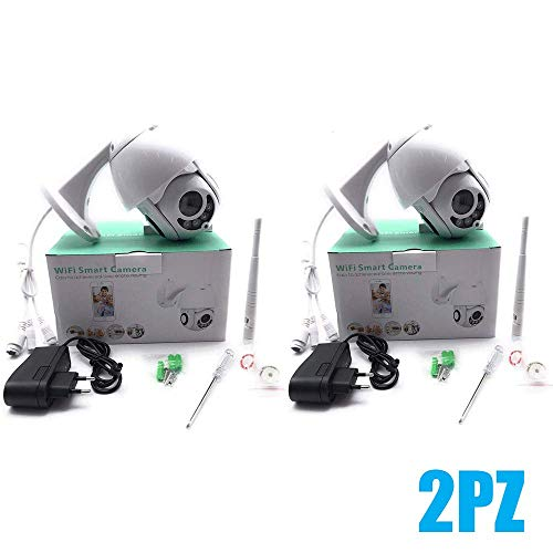 081 Store - 2X TELECAMERA IP CAM WIFI CAMERA DOME WIRELESS ESTERNO SPEED ZOOM MICRO SD 4MM PTZ ATTACCO CAVO RJ
